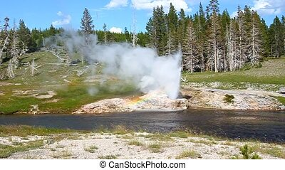 Riverside Geyser of Yellowstone - Riverside Geyser erupts...