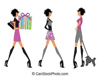 Modern girls walking
