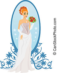 Happy bride with roses