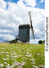 Old wooden windmill in Sweden