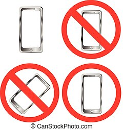 Mobile phone prohibition signs on white background