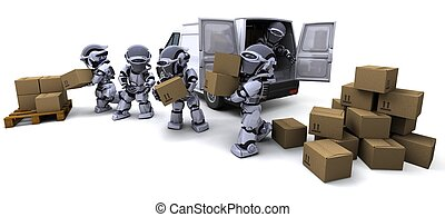 Robot with Shipping Boxes loading a van