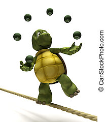 Tortoise juggling on a tight rope - 3D Render of Tortoise...
