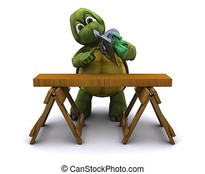 Tortoise with a power saw - 3D Render of a Tortoise with a...