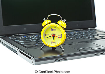Clock on Notebook as time management concept