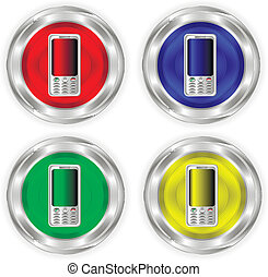 Phone metal, chrome icons or buttons