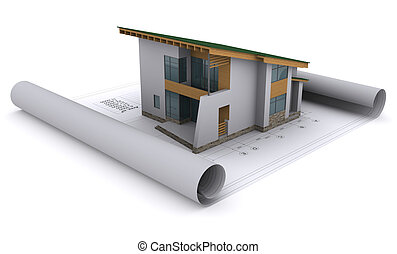 house with a green roof is on the construction drawings