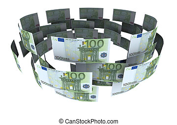 Euro in circulation of money. 3d rendering