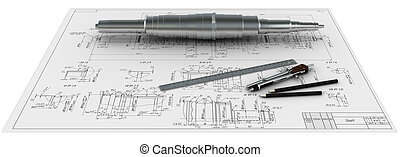 metal shaft, compasses, rulers and pencils at an engineering...