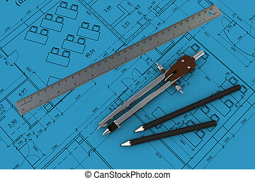 compass, ruler and pencil on the architectural blueprints