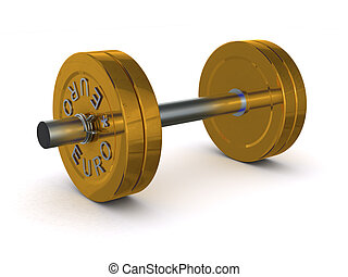 dumbbell of golden discs with the inscription EURO