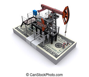 Oil pump-jack stands on a pack of dollars