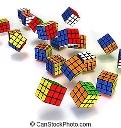 Rubik's cubes falling isolated on white
