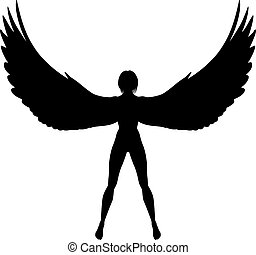 Winged woman - Editable vector silhouette of a woman or...