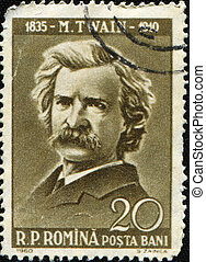 Mark Twain - ROMANIA - CIRCA 1960: A stamp printed in...