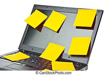Laptop notebook isolated on white with postits on it