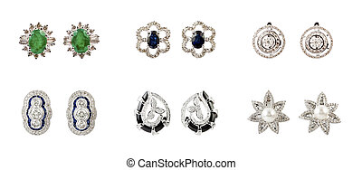 Pairs of earrings - Pairs of Earrings with diamonds isolated...