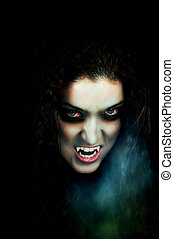 Vampire with pale face, fangs, flaky skin and scary eyes