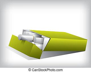Cigarette box on white background