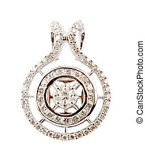 Close up of diamond pendant or earring isolated over white...