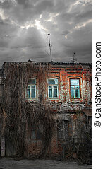 old dilapidated brick house enmeshed dried plants
