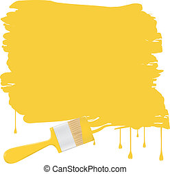 Vector background with yellow paintbrush