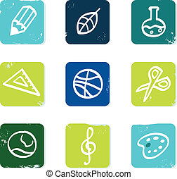 School and education icons set and elements isolated on...