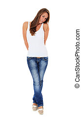 Shy woman - Full length shot of an attractive young woman....