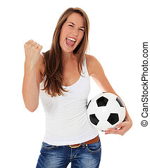 Cheering woman - Cheering young woman holding soccer ball....