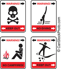 Prohibited signs - set of isolated vector icons. No...