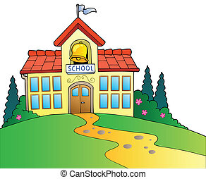 Big school building - vector illustration