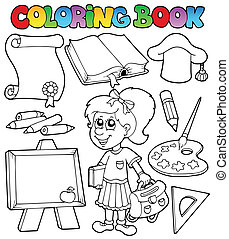 Coloring book school topic 2 - vector illustration.