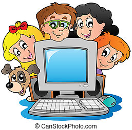 Computer with cartoon kids and dog - vector illustration.