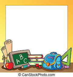 Frame with school supplies 1 - vector illustration