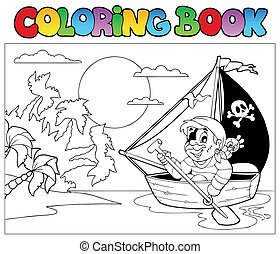 Coloring book with pirate in boat - vector illustration.