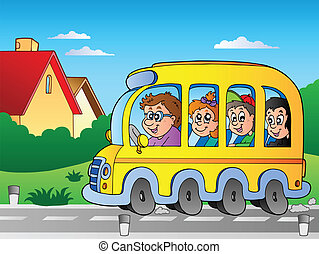 Road with school bus 1 - vector illustration