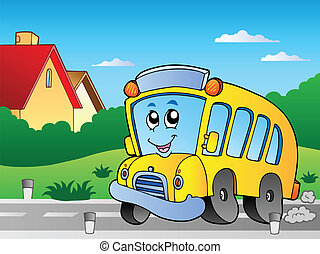 Road with school bus 2 - vector illustration