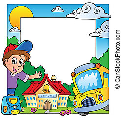 School theme frame 1 - vector illustration