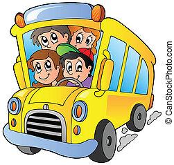 escuela, autobús, feliz, niños