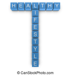Healthy lifestyle 3D crossword on white background