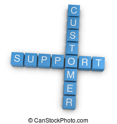 Customer support 3D crossword on white background - Customer...