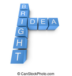 Bright idea 3D crossword on white background - Bright idea...