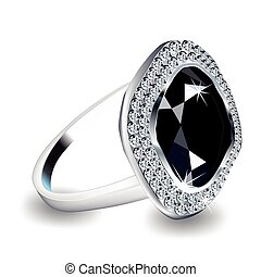 Diamond Ring Vector - Diamond engagement ring in eighteen...