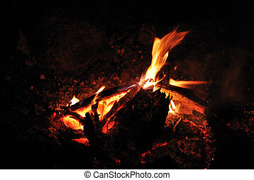 ampfire and camping - bright warm campfire when camping in...
