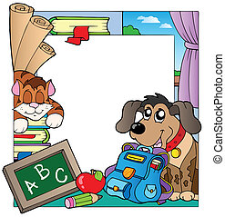 School theme frame 7 - vector illustration.