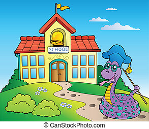 Snake teacher with school building - vector illustration.