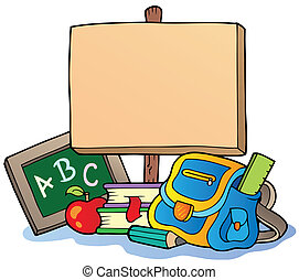 School theme with wooden board - vector illustration