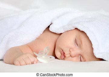 csecsemő, leány, alvás