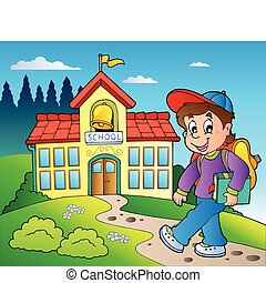 Theme with boy and school building - vector illustration