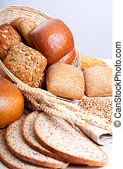 close up of baked bun - assortment of baked bread